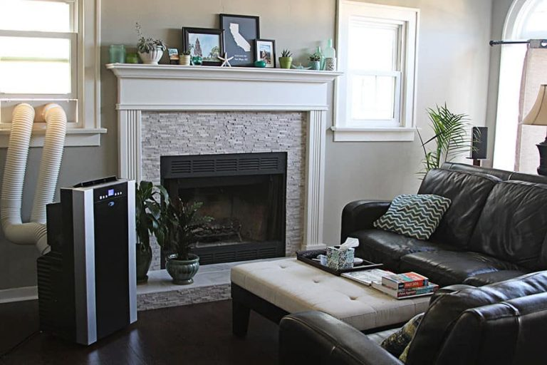 living room with a portable air conditioner